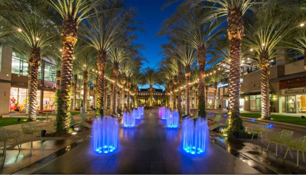 Fountains lined with palm trees at night