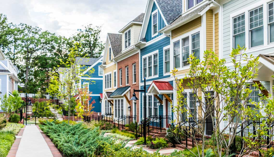 Row of houses showing different colors and textures