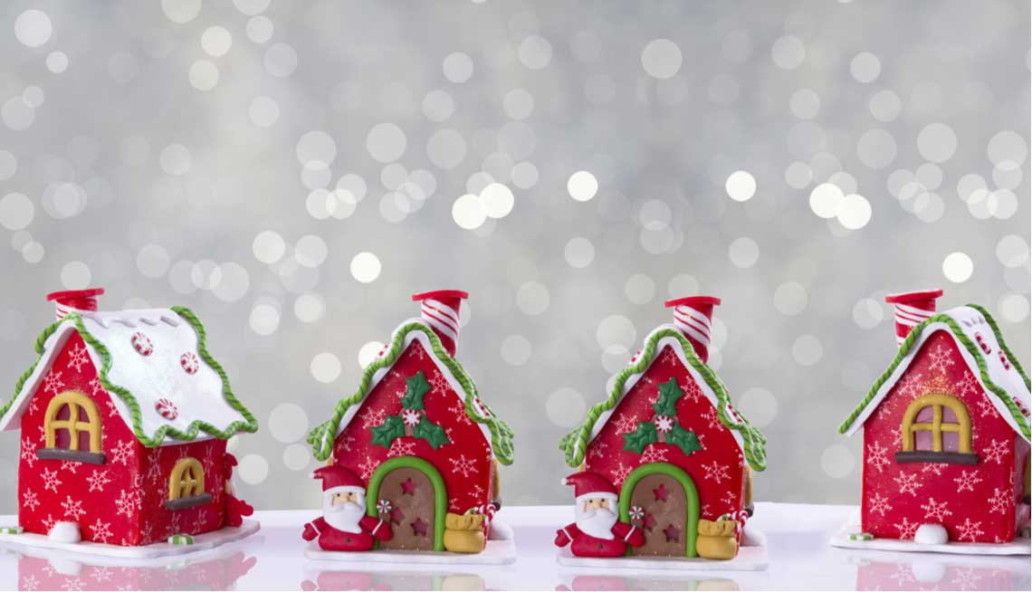 Decorative holiday ginger bread houses