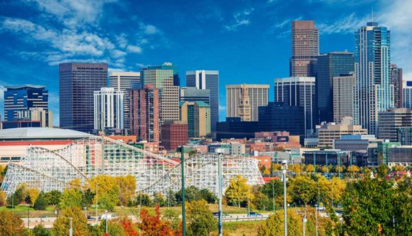Denver Skyline with roller-coaster in foreground