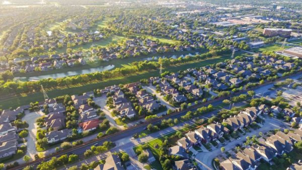aerial view of suburbs
