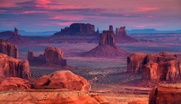 desert sunset landscape with mountains