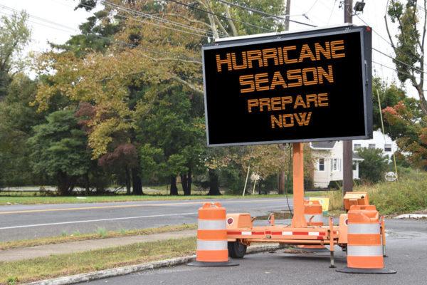 Mobile LED road sign reading - Hurricane Season Prepare Now