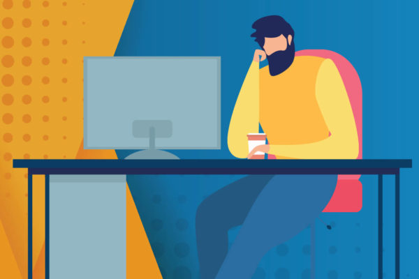 vector illustration of man thinking in front of a computer monitor