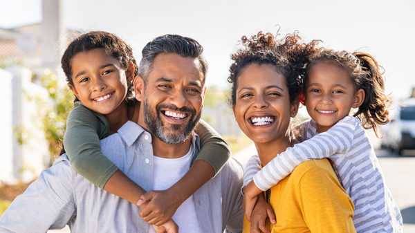 family excited new home purchase