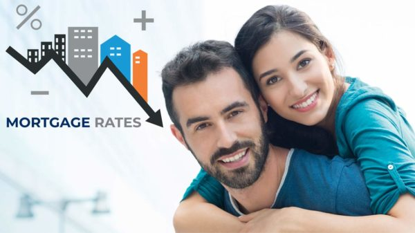 happy couple about lower interest rates